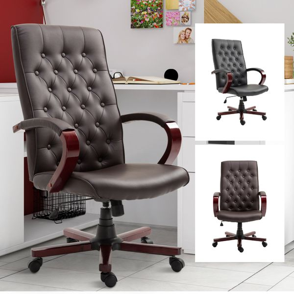 Faux Leather Wooden High Back Executive Home Office Chair|AOSOM.COM