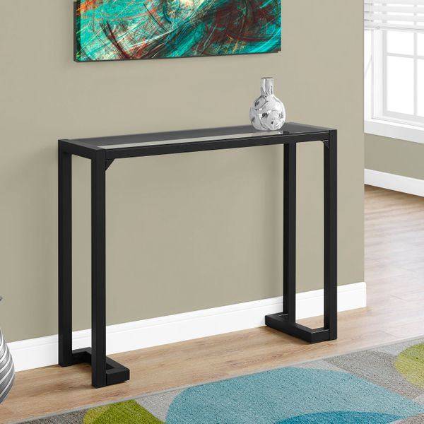 """Monarch 42"""" Contemporary Tempered Glass Top Metal Framed Accent Console Table - Black Finish   Aosom"""