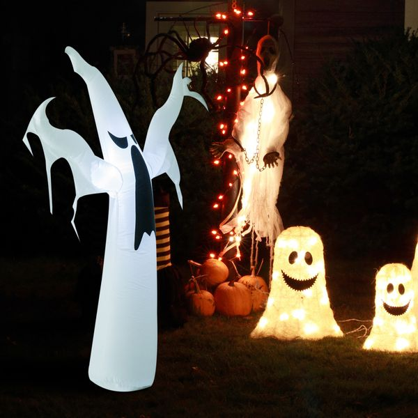 HOMCOM 6ft Tall Halloween Inflatable White Ghost Light Up Yard Decoration with LED Light and Fan|AOSOM.COM