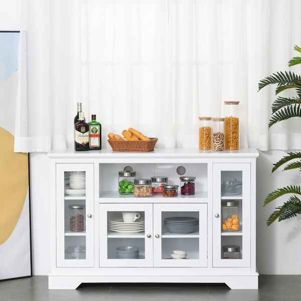 Homcom Storage Sideboard Modern Kitchen Sideboard Buffet Server Cabinet With Glass Doors/Tv Stand Console Table For Living Room  White Wood   Aosom
