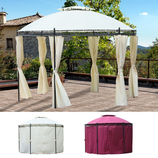 11.5' Steel Fabric Round Soft Top Outdoor Patio Dome Gazebo Shelter with Curtains | Aosom