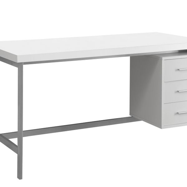 "Monarch 60"" Contemporary Industrial Style Computer Desk with Storage Drawers - White / Silver Metal 