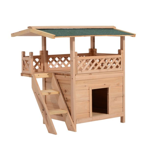 PawHut 2-Story Indoor/Outdoor Wood Cat House Pet Kitten Durable Shelter with Roof | Aosom