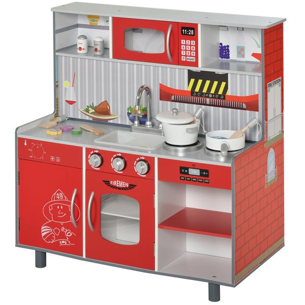 Qaba Kids Kitchen Set 2 In 1 Multifunction Doll House Play Kitchen With Realistic Function For Girls And Boys Red Pretend Cooking Playhouses Aosom