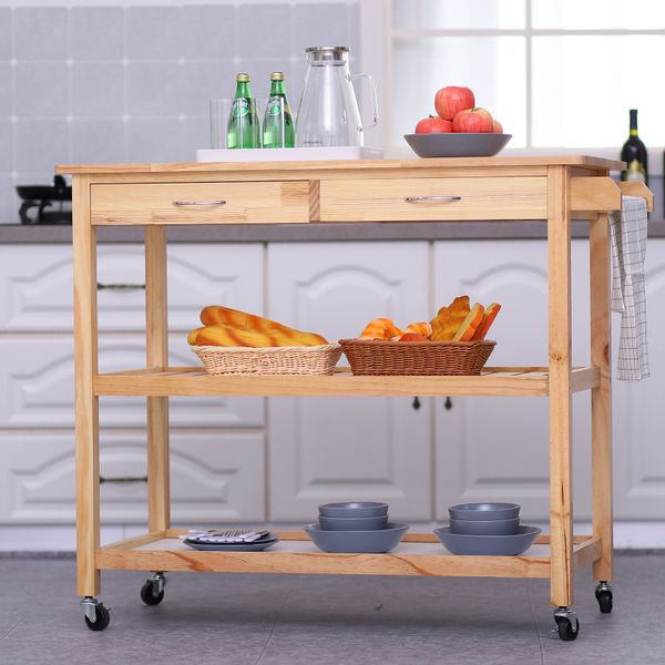 """HomCom 45"""" Natural Wooden 3 Tier Kitchen Rolling Cart Workbench With Storage