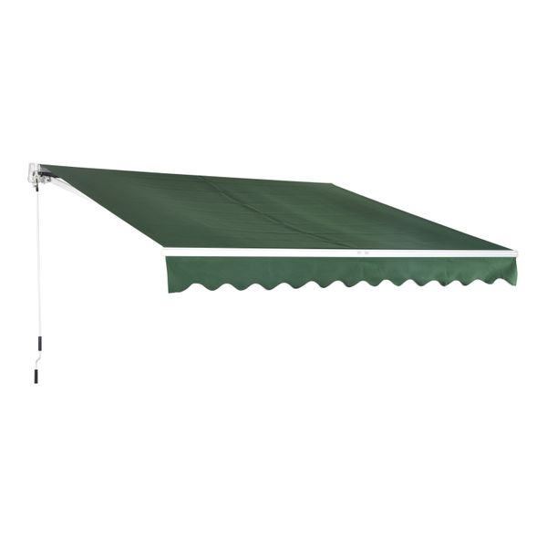 BenefitUSA 13 x 10 Manual Retractable Patio Deck Awning Outdoor Sunshade Green with White