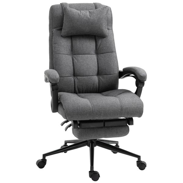 Vinsetto Desk Chair Ergonomic Office Chair Reclining Home Office Chair Executive Adjustable Rolling Swivel Chair With Retractable Footrest Headrest Lumbar Pillow Linen - Dark Grey | Aosom