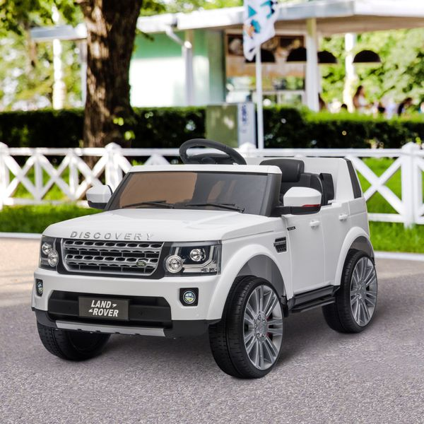 Aosom Compatible 12V Battery-powered Kids Electric Ride On Car Landrover Discovery 4 Toy with Parental Remote Control Music Lights MP3 Suspension Wheels for 3-6 Years Old White w/ Yrs | Aosom