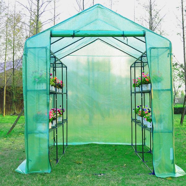 Outsunny 8' x 6' x 7' Portable Water Resistant Temperature Controlled Outdoor Walk-In Greenhouse with 18 Shelves and Roll-Up Ventilationdoor | Aosom