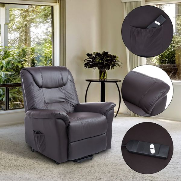 HOMCOM Luxury Faux Leather Three Position Lift Chair Recliner With Remote - Dark Brown / electric lift chair recliner | Aosom