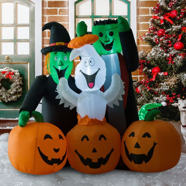 "HOMCOM 5"" LED Outdoor Halloween Inflatable Decoration - Monster Pumpkin Party / Airblown LED light up Halloween inflatable decoration 