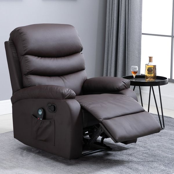 HOMCOM Manual Massage Recliner Chair with Heat and Remote Control  8 Massaging Points  PU Leather  - Brown|AOSOM.COM