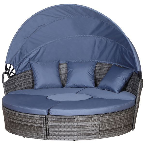 Outsunny 5 Piece Cushioned Outdoor Plastic Rattan Wicker Round Sofa Bed Coffee Table Sectional Patio Conversation Furniture Set - Grey PCs   Aosom