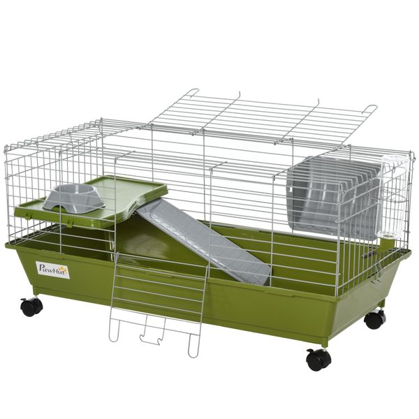 """PawHut 35"""" Small Animal Cage Rabbit Chinchilla Guinea Pig Hutch Pet Play House with Platform Ramp Food Dish Water Bottle Hay Feeder w/ 