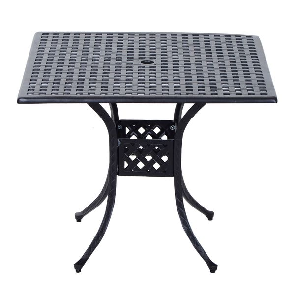 Outsunny Square Cast Aluminum Outdoor Dining Table - BlackSquare Cast Aluminum Outdoor Dining Table - Black | Aosom