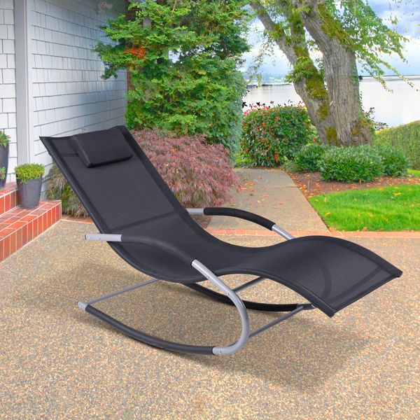 Outsunny Chaise Rocker Patio Lounge Chairs Swing Recliner Relaxer W Pillow Outdoor Rocking Chairs Aosom