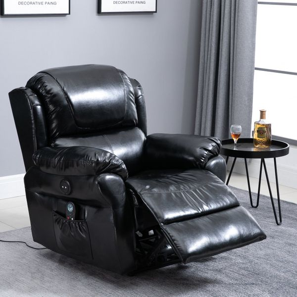 HOMCOM PU Leather Heated Massage Sofa Recliner Chair Home Theater Seating with Remote Control  8 Massaging Points - Black|Aosom