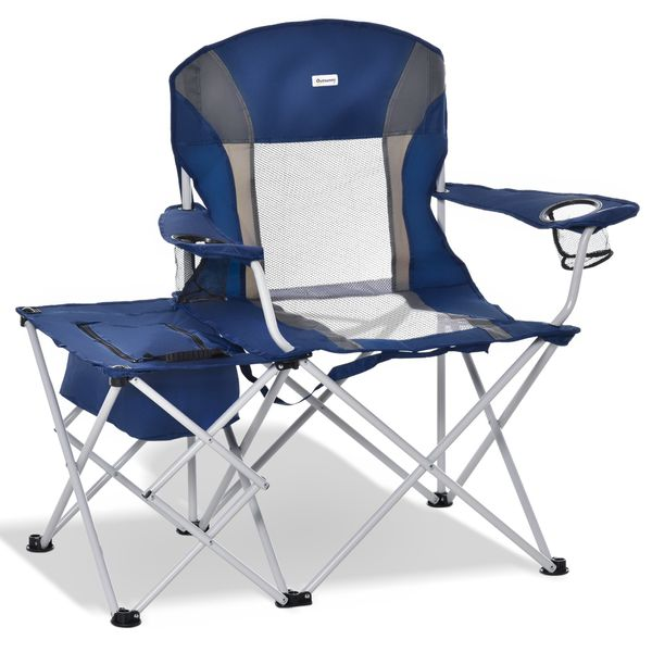 Outsunny Folding Camping Chair w/ Insulation Bag, Cup Holders And Side Table Director's Chair For Picnic, Travel, Fishing, Beach Navy Blue &   Aosom