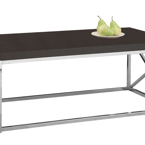 """Monarch 44"""" Contemporary Chrome Frame Accent Cocktail Coffee Table - Cappuccino Brown Wood Grain-Look Finish 