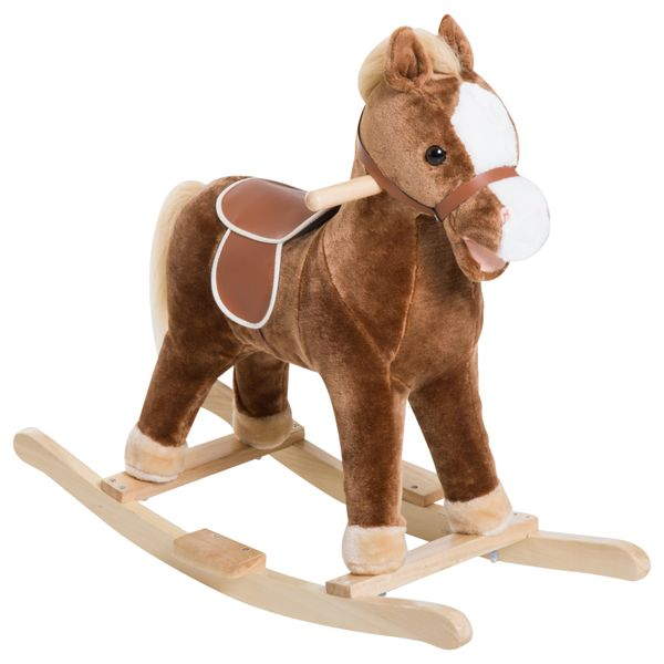Qaba Kids Plush Toy Rocking Horse Ride on with Realistic Sounds - Brown|AOSOM.COM