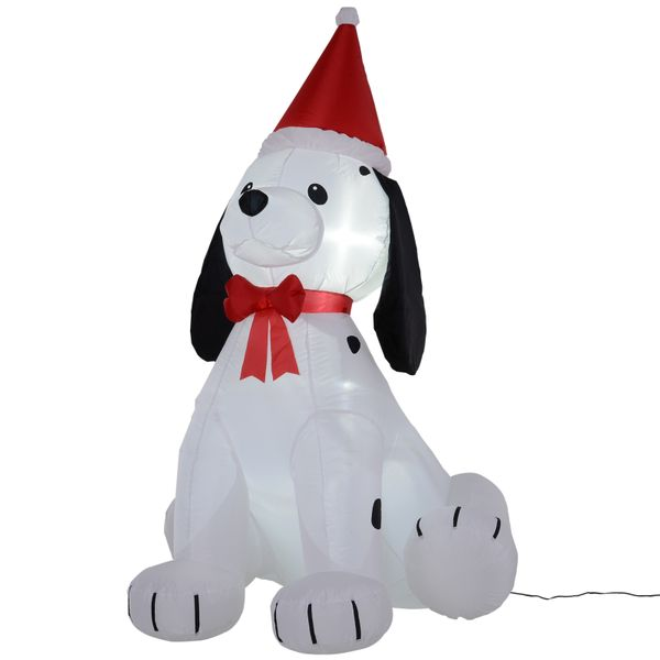 HOMCOM 6' H Christmas Holiday Yard Inflatable Outdoor  Light Up LED Airblown Decoration  Puppy Dog Wearing a Santa Hat AOSOM.COM