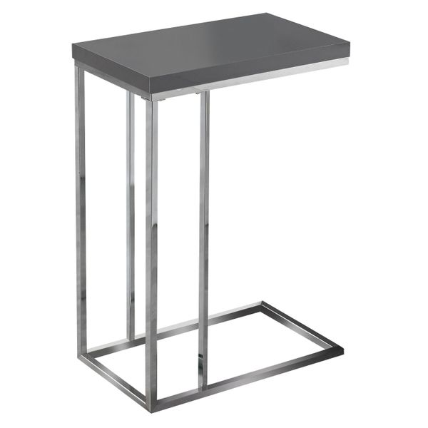 """Monarch 25"""" Contemporary Chrome Metal Base C-Shaped Side Accent Table - Glossy Grey Finish 