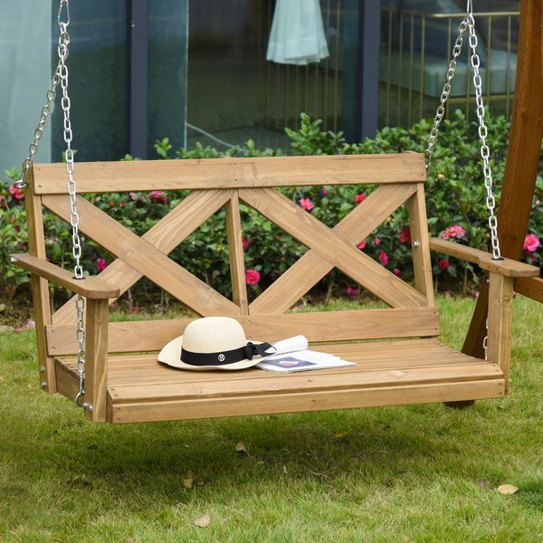 Outsunny Porch Swing Chair Seat Wooden Swing With Steel Chains For Patio Garden Natural W/ Steel Chains   Aosom