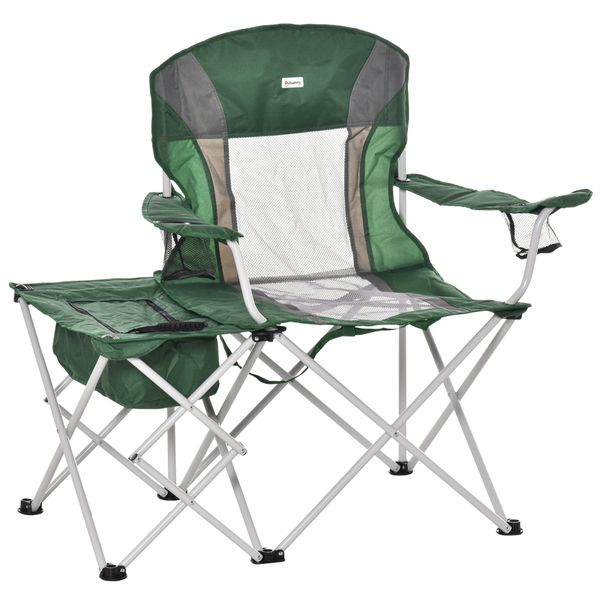 Outsunny Folding Camping Chair w/ Insulation Bag, Cup Holders And Side Table Director's Chair For Picnic, Travel, Fishing, Beach Green & | Aosom