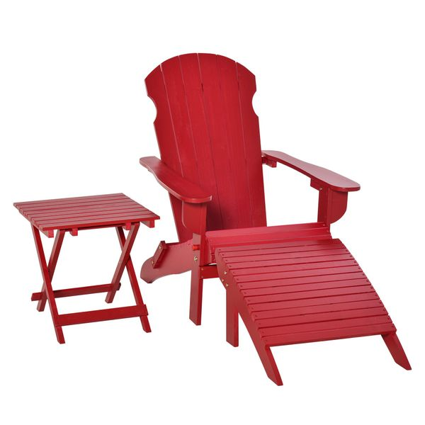 Outsunny 3 Piece Patio Furniture Set Adirondack Chair with Ottoman and Table Folding Design Outdoor Wooden Lounger for Lawn Garden Patio Porch Living Room Red w/   Aosom