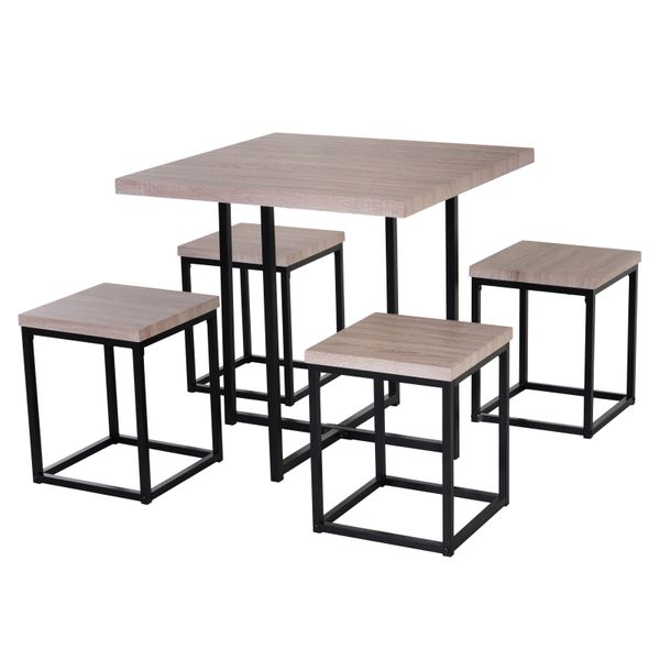 HOMCOM Furniture 5 Piece Sspace Saving Dining Set Steel Dining Room Table Stool Set Square Board - Natural wood color   Aosom
