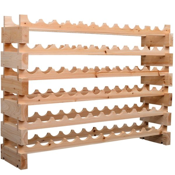 HomCom 72 Bottle Stackable Modular 6 Row Home Wood Wine Storage Rack Wine Rack | Aosom