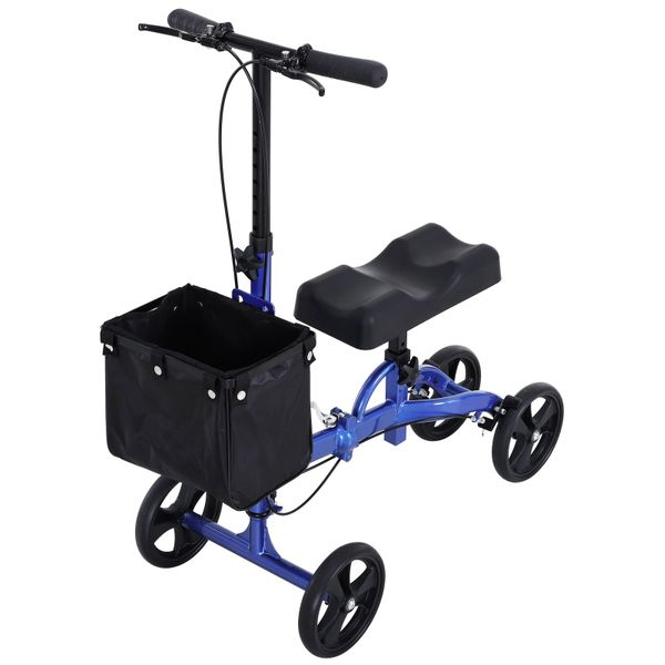 HOMCOM Foldable Dual Pad Steerable Leg Knee Walker Scooter with Basket Attachment - Blue   Aosom