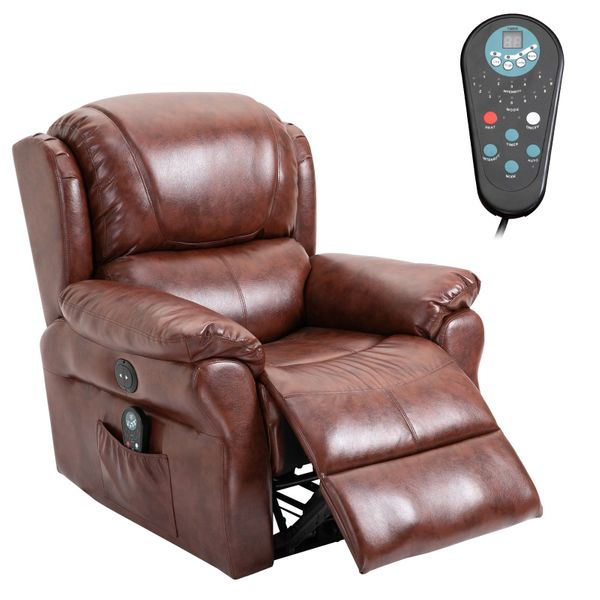 HOMCOM Power Massage Recliner Chair with Heat and Remote Control  8 Massaging Points  PU Leather - Brown|AOSOM.COM