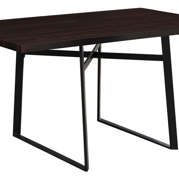 "Monarch 60"" x 36"" Rectangular Modern Metal Base Dining Table - Cappuccino Brown 