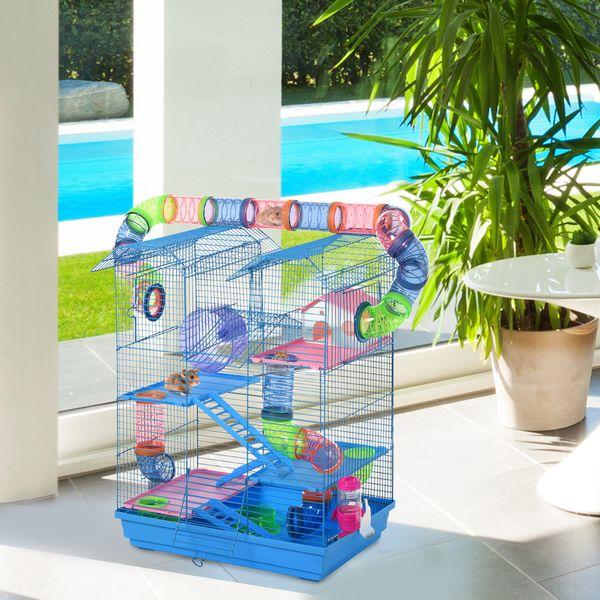 PawHut 5 Tiers Hamster Cage Animal Travel Carrier Habitat with Exercise Wheels Tube Water Bottle Dishes House Ladder Blue W/ | Aosom