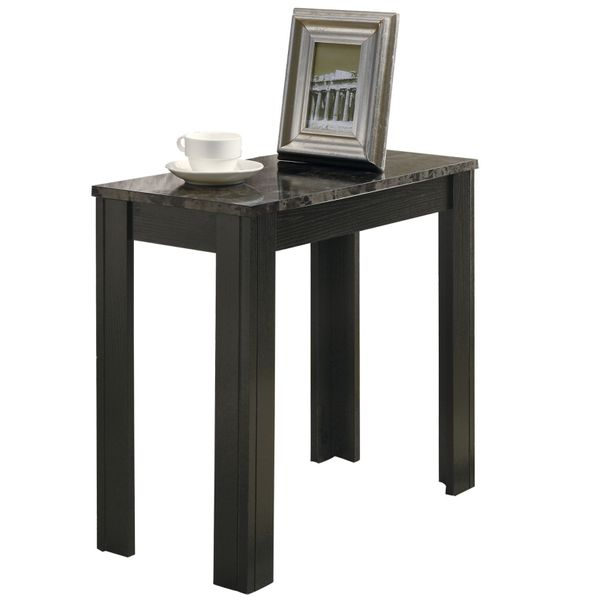 """Monarch 22"""" Transitional Style Rectangular Marble-Look Top Wood Grain-Look Legs Side Accent End Table - Black / Grey Finish 
