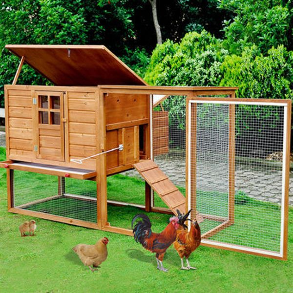 Pawhut Chicken Coop with Outdoor Run Nesting Box | aosom.com