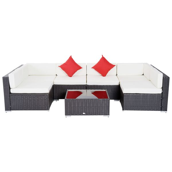 Outsunny 7 Piece Modern Rattan Wicker Outdoor Rattan Sectional Sofa Patio Wicker Conversation Furniture Set Cushioned Couch | Aosom