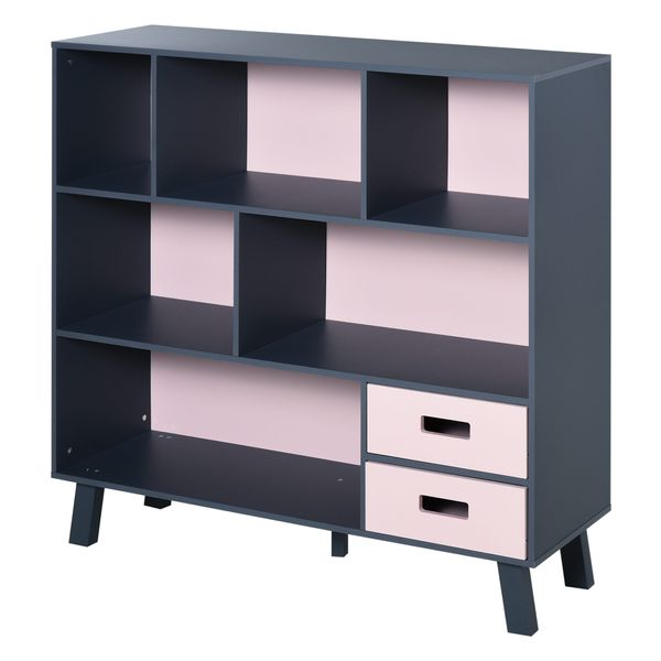 HOMCOM 3-Tier Modern Bookcase Chest Open Shelves Cabinet Floor Standing Home Office Storage Furniture Shelvin with Drawers - Pink   Aosom