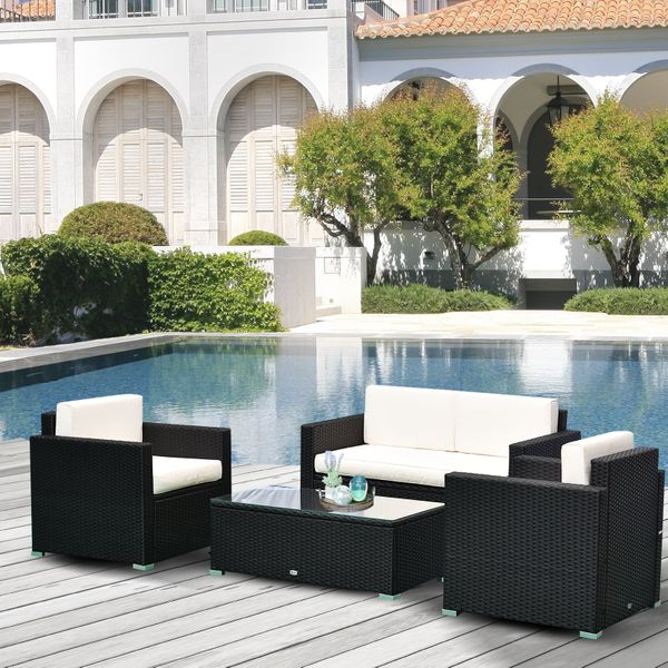 Outsunny 4-Piece Cushioned Rattan Wicker Patio Furniture Set with 2 Chairs, Sectional and Glass Coffee Table - Black | Aosom