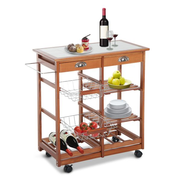 "HomCom 30"" Portable Rolling Kitchen Trolley Cart Tile Top Island w/ Wine Rack 