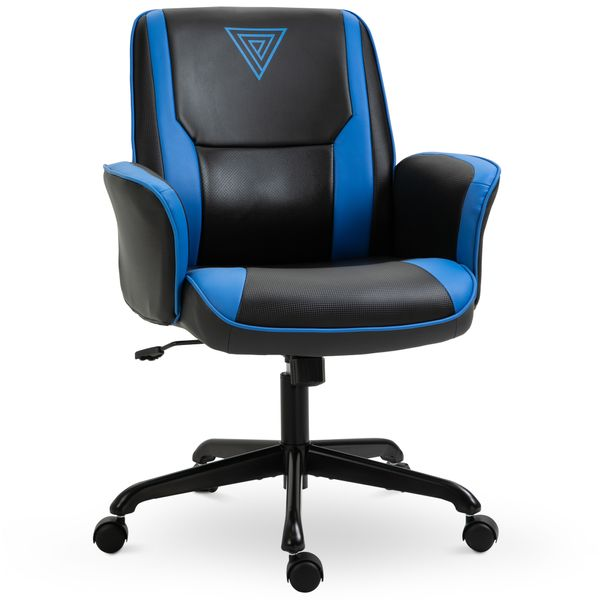 Vinsetto Racing Gaming Chair Faux Leather Adjustable Height with Wheels Armrest Mid Back Home Office Blue | Aosom