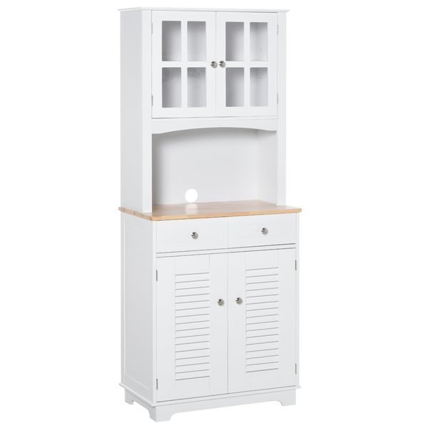 """HOMCOM 67"""" Kitchen Buffet with Hutch  Pantry with Framed Glass Doors  Louvered Cabinets  2 Drawers  and Open Microwave Countertop  White Coastal Wooden for Dining Room 