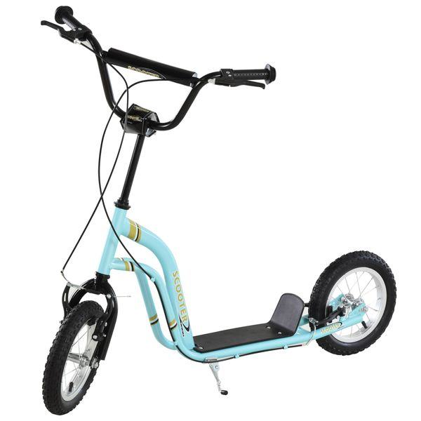 Aosom Youth Scooter Front and Rear Caliper Dual Brakes 12-Inch Inflatable Front Wheel Ride On Toy For Age 5+ Blue Kick|AOSOM.COM