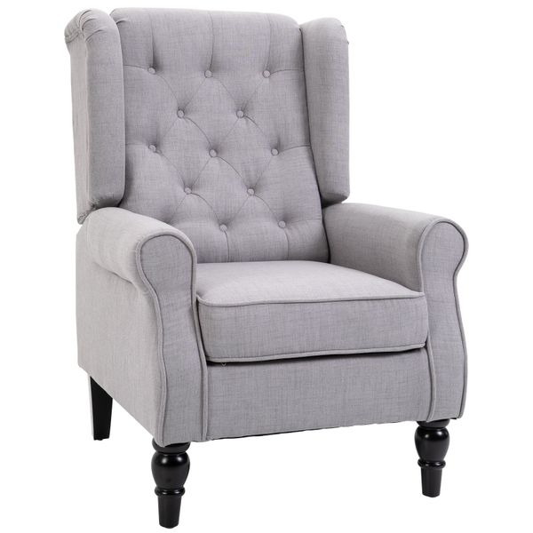 HomCom Fabric Tufted Club Accent Chair Recliner with Wooden Legs - Grey | Aosom
