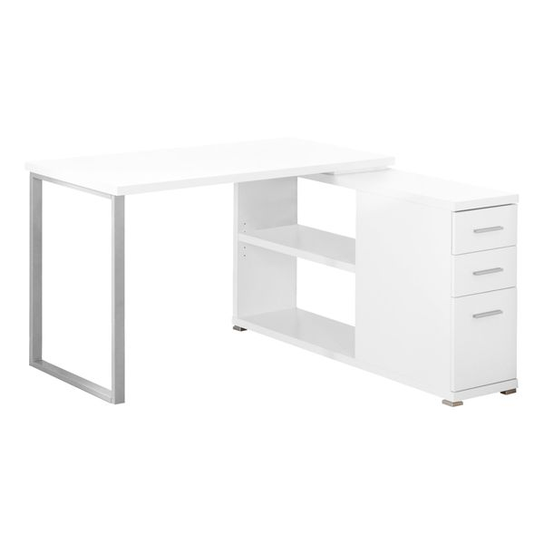 Monarch Contemporary Right or Left Facing Corner Computer Desk with Shelves and Storage Drawers - White | Aosom