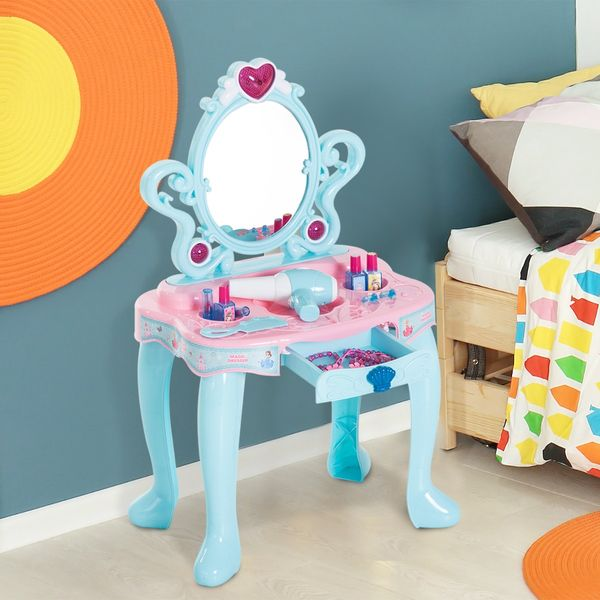 Qaba Kids Princess Vanity Table Pretend Play Set With Lights Sounds And Accessories Aosom Com