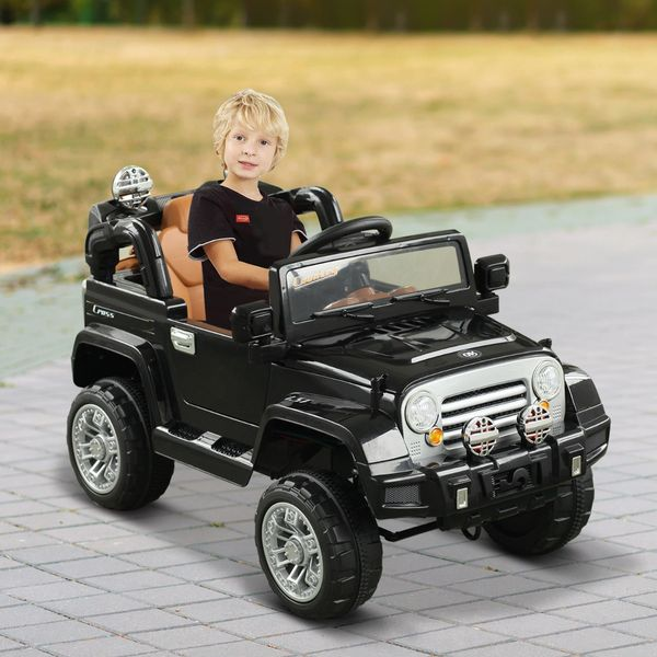 Aosom 12V Kids Jeep Style Electric Battery Powered Ride On Car Truck w/ Remote Control - Black / Off Road with Toys Powered Riding Jeep Toy | Aosom