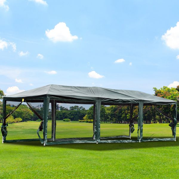 Outsunny 10' x 30' Gazebo Canopy Cover Tent / with Removable Mesh Side Walls Large canopy with netting | Aosom