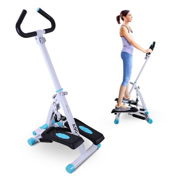 Soozier Adjustable Stepper AB Body Workout MachineExercise Fitness Equipmentw/ Handle Bar and LCD Monitor | Aosom